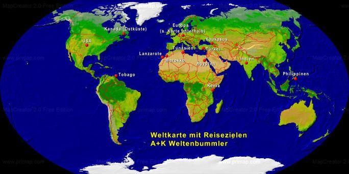 Weltkarte A+K Weltenbummler
