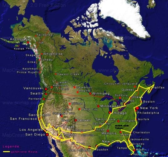 Tourkarte Nordamerika