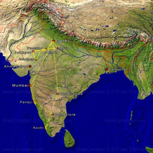 Tourkarte Indien