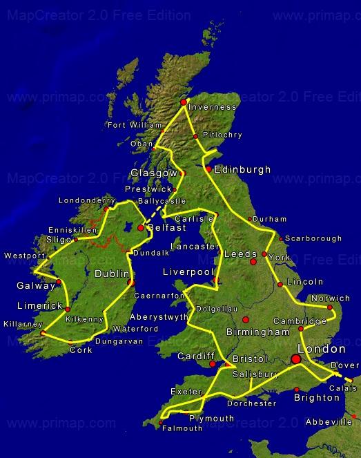 britische inseln karte Tourkarte Britische Inseln | A+K Weltenbummler britische inseln karte